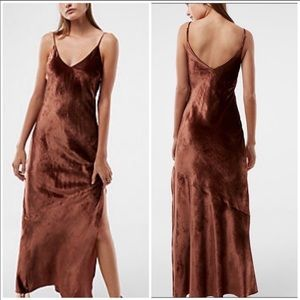 NWT Express Bronze Velvet Maxi Slip dress XS